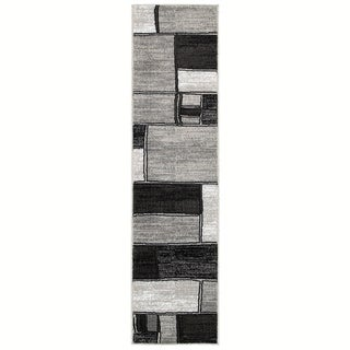 LNR Home Adana Charcoal/ Grey Abstract Runner Rug (1'9 x 6'9)