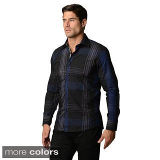 Men's Longs-sleeve Plaid Button-down Shirt