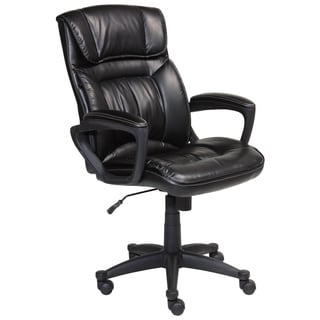 Serta Smooth Black Executive Puresoft Faux Leather Office Chair
