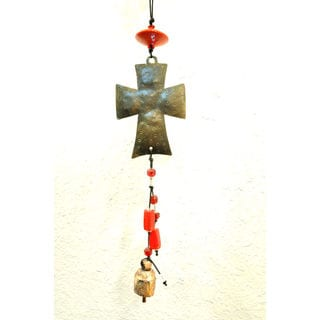 Handmade Two-tone Cross Wind Chime (India)