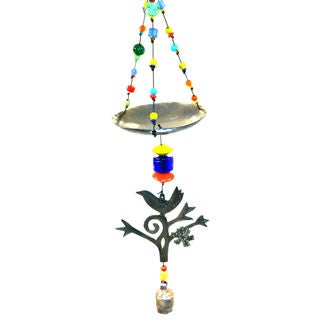 Handmade Multi-colored Bird Feeder Wind Chime (India)