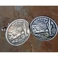 Handmade Antiqued Silvertone Men's Arizona State Quarter Cuff links
