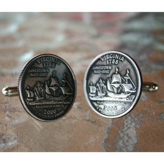 Handmade Antiqued Silvertone Men's Virginia Quarter Cufflinks