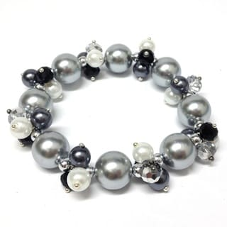 Pearl Passion Crystal and Glass Pearl Cluster Bracelet