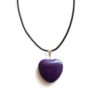 Every Morning Design Purple Turquoise Magnesite Heart Leather Cord Necklace