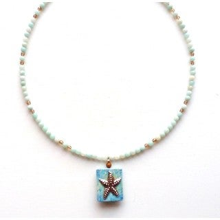 Every Morning Design Amazonite and Jasper Beaded Starfish Necklace