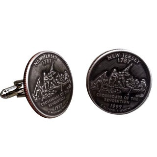 Handmade Antiqued Silvertone Men's New Jersey State Quarter Cuff links