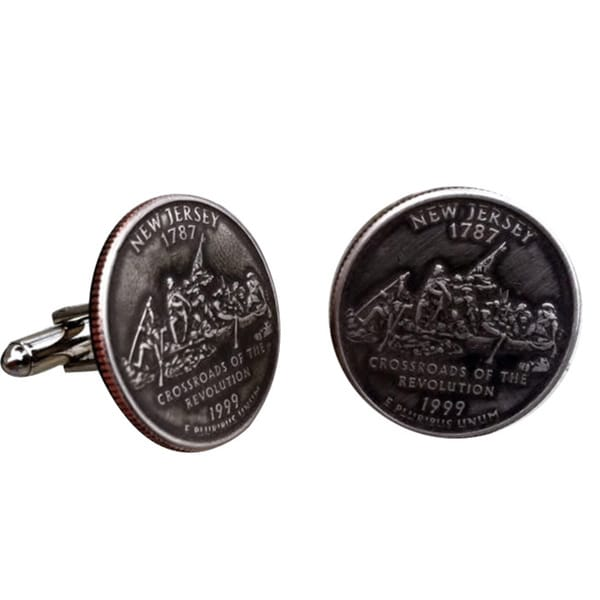 Handmade Antiqued Silvertone Men's New Jersey State Quarter Cuff links 13043561