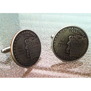 Handmade Antiqued Silvertone Men's New Hampshire State Quarter Cuff links