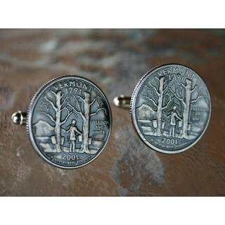 Handmade Antiqued Silvertone Men's Vermont State Quarter Cuff links