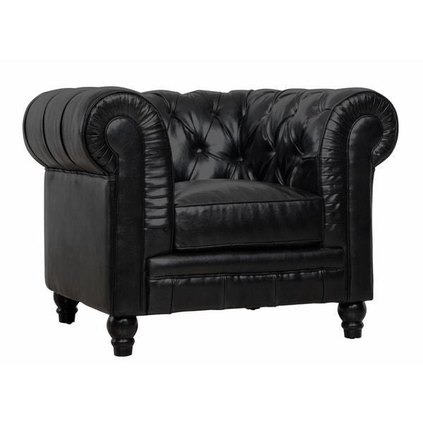 zahara black leather club chair 16272894 shopping