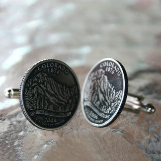 Handmade Antiqued Silvertone Men's Colorado State Quarter Cuff links