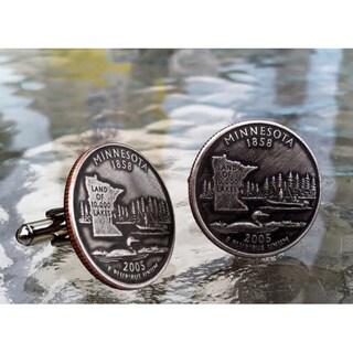 Handmade Antiqued Silvertone Men's Minnesota State Quarter Cuff links
