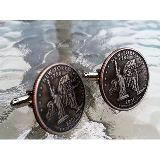 Handmade Antiqued Silvertone Men's New York State Quarter Cuff links