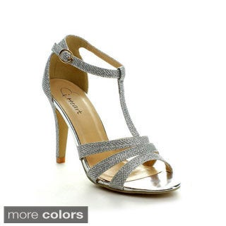 I Heart Collection Women's 'Amber' Glittering Ankle Strap Heels