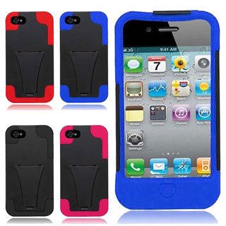 INSTEN Black T-stand Dual Layer Hybrid Stand PC/ Soft Silicone Phone Case Cover for Apple iPhone 4/ 4S