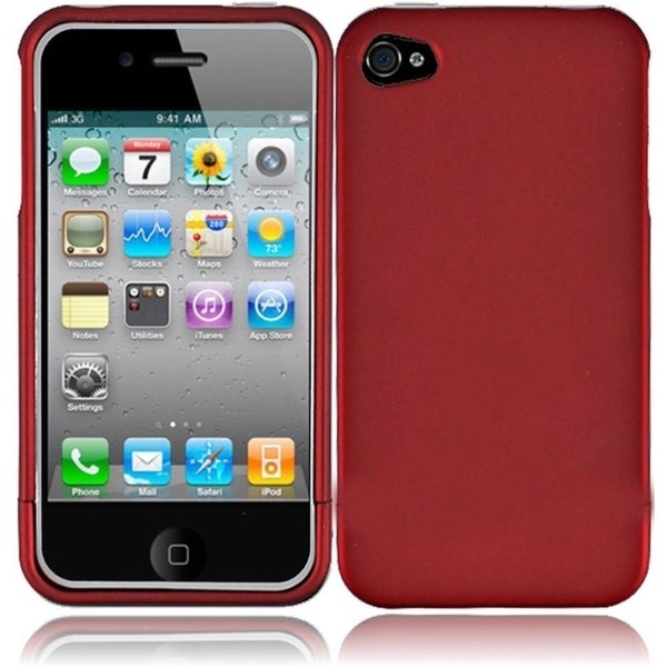 INSTEN Red Rubberized Hard Plastic Snap-on Phone Case Cover for Apple iPhone 4/ 4S