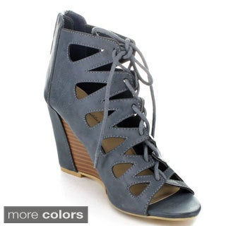 Mare & Maddux Women's 'Stana' Lace-up Caged Wedges