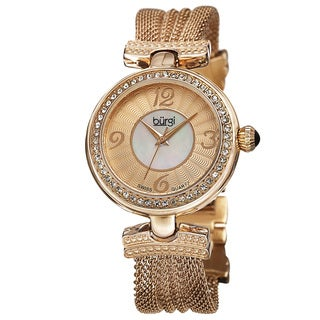 Burgi Women's Swiss Quartz MOP Dial Mesh Bracelet Watch