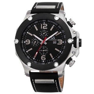 Joshua & Sons Men's Swiss Quartz Genuine Leather Strap Watch