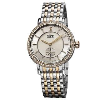 Burgi Women's Swiss Quartz Diamond Stainless Steel Bracelet Watch