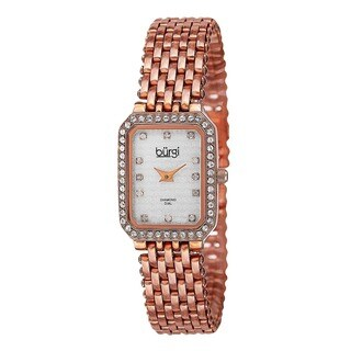 Burgi Women's Swiss Quartz Diamond Stainless Steel Bracelet Watch