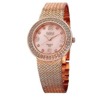 Burgi Women's Swiss Quartz Diamond MOP Mesh Bracelet Watch