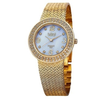 Burgi Women's Swiss Quartz Diamond MOP Mesh Bracelet Watch