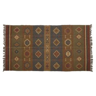 Hand-woven Indo Wool/ Jute Beige/ Rust Kilim Rug (5' x 8')