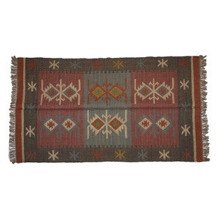 Hand-woven Indo Wool and Jute Black/ Maroon Kilim Rug (4' x 6')