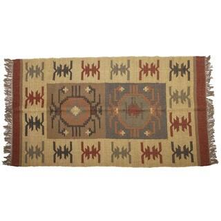Hand-woven Indo Wool and Jute Beige/ Black Kilim Rug (4' x 6')