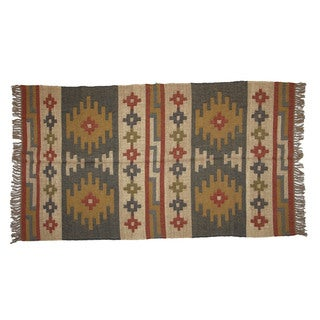Hand-woven Indo Wool and Jute Beige/ Red Kilim Rug (4' x 6')
