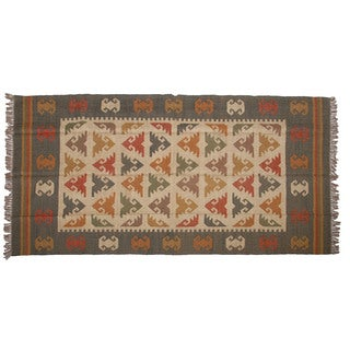 Hand-woven Indo Wool and Jute Rust/ Green Kilim Area Rug (6' x 9')