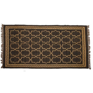 Hand-woven Indo Wool and Jute Beige/ Black Kilim Rug (6' x 9')