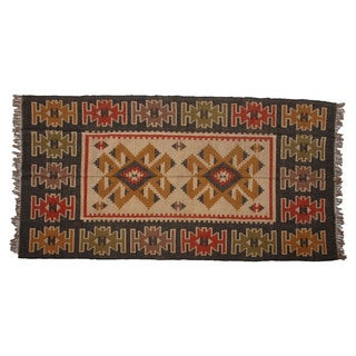 Hand-woven Indo Wool and Jute Black/ Beige Kilim Rug (6' x 9')