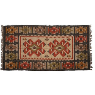 Hand-woven Indo Wool and Jute Black/ Red Kilim Rug (6' x 9')
