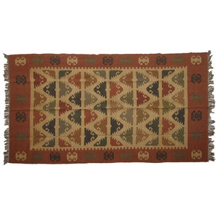 Hand-woven Indo Wool and Jute Rust/ Camel Kilim Rug (5' x 8')