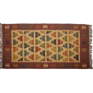Hand-woven Indo Wool and Jute Beige/ Maroon Kilim Rug (5' x 8')