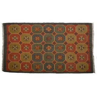 Hand-woven Indo Wool and Jute Rust/ Green Kilim Rug (5' x 8')