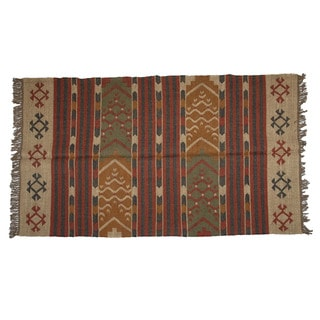 Hand-woven Indo Wool and Jute Red/ Green Kilim Rug (4' x 6')