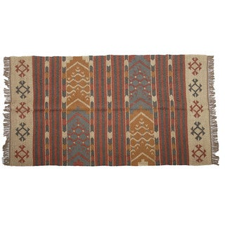 Hand-woven Indo Wool and Jute Beige/ Orange Kilim Rug (4' x 6')