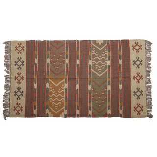 Hand-woven Indo Wool and Jute Beige/ Burgundy Kilim Rug (4' x 6')