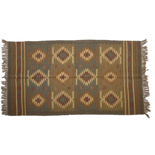 Hand-woven Indo Wool and Jute Blue/ Camel Kilim Rug (4' x 6')