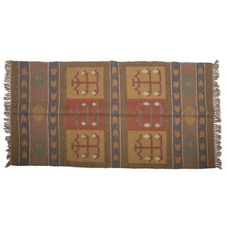 Hand-woven Indo Wool and Jute Red/ Brown Kilim Rug (4' x 6')