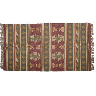 Hand-woven Indo Wool and Jute Green/ Burgundy Kilim Rug (4' x 6')