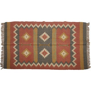 Hand-woven Indo Wool and Jute Red/ Black Kilim Rug (4' x 6')