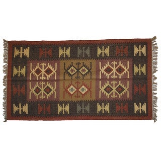 Hand-woven Indo Wool and Jute Black/ Burgundy Kilim Rug (4' x 6')