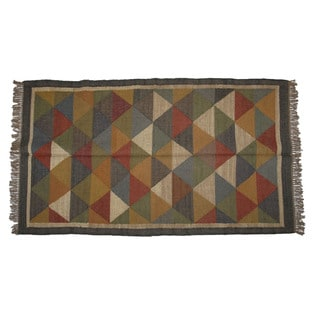 Hand-woven Indo Wool and Jute Black/ Multi Kilim Rug (4' x 6')
