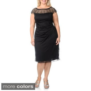 R & M Richards Women's Plus Size Embellished Neckline Evening Dress