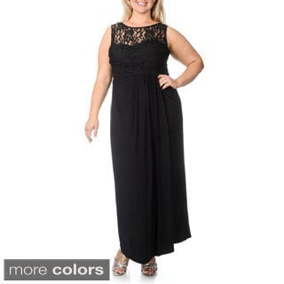 R & M Richards Women's Plus Size Lace and Glitter Cascading Pleated Gown